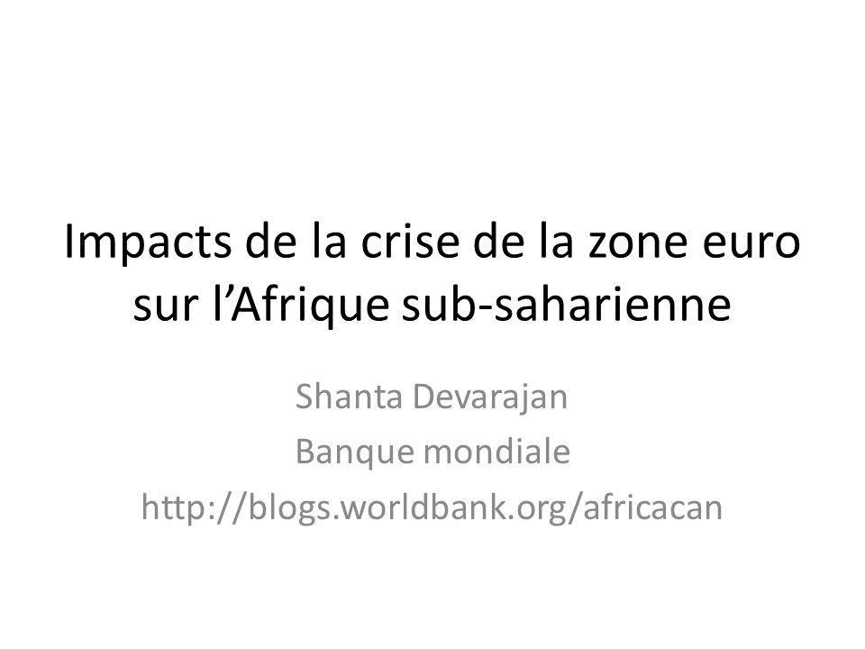 Impacts de la crise de la zone euro sur lAfrique sub-saharienne Shanta Devarajan Banque mondiale http://blogs.worldbank.org/africacan