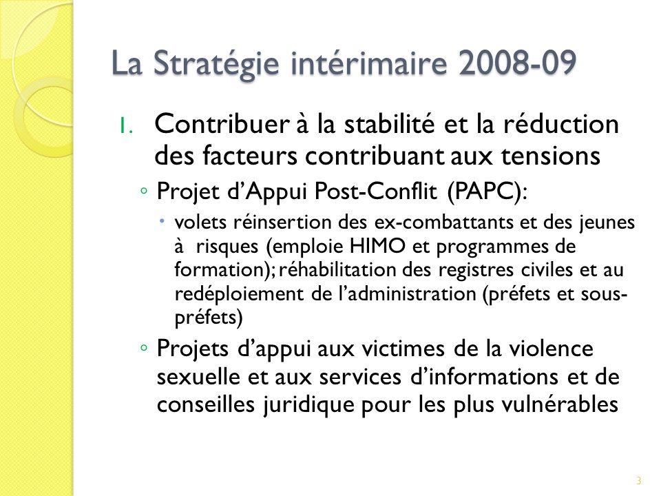 La Stratégie intérimaire 2008-09 1.