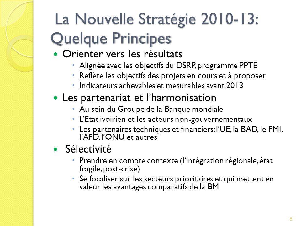 La Nouvelle Stratégie 2010-13: Quelque Principes La Nouvelle Stratégie 2010-13: Quelque Principes Orienter vers les résultats Alignée avec les objectifs du DSRP, programme PPTE Reflète les objectifs des projets en cours et à proposer Indicateurs achevables et mesurables avant 2013 Les partenariat et lharmonisation Au sein du Groupe de la Banque mondiale LEtat ivoirien et les acteurs non-gouvernementaux Les partenaires techniques et financiers: lUE, la BAD, le FMI, lAFD, lONU et autres Sélectivité Prendre en compte contexte (lintégration régionale, état fragile, post-crise) Se focaliser sur les secteurs prioritaires et qui mettent en valeur les avantages comparatifs de la BM 8