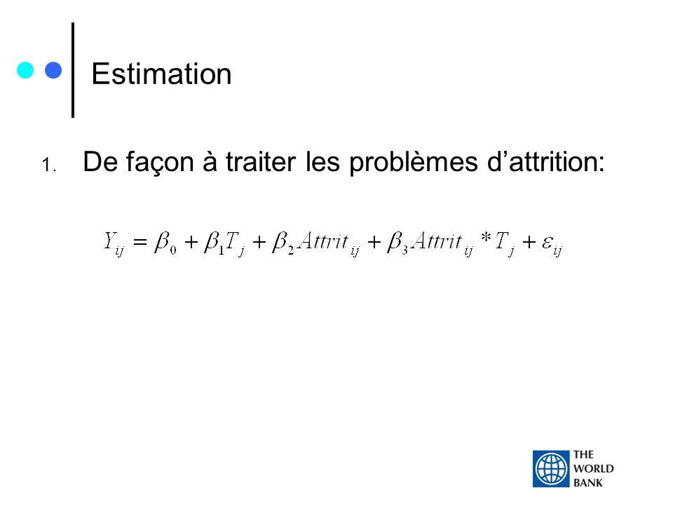 Estimation 1. De façon à traiter les problèmes dattrition: