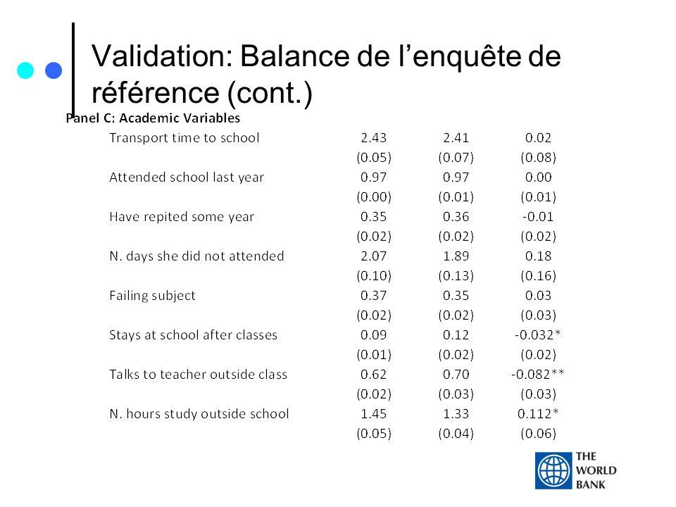 Validation: Balance de lenquête de référence (cont.)