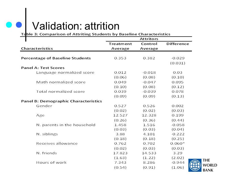 Validation: attrition