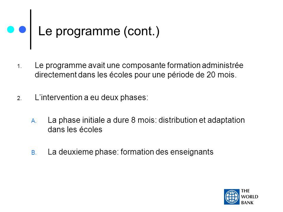 Le programme (cont.) 1. Le programme avait une composante formation administrée directement dans les écoles pour une période de 20 mois. 2. Lintervent
