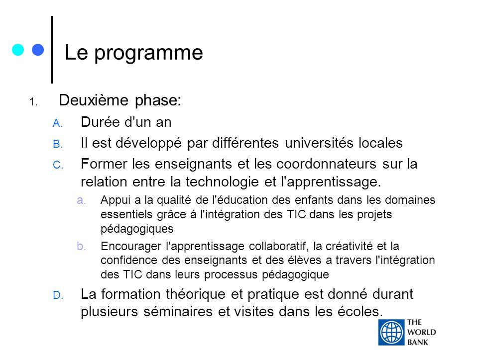Le programme 1. Deuxième phase: A. Durée d'un an B. Il est développé par différentes universités locales C. Former les enseignants et les coordonnateu