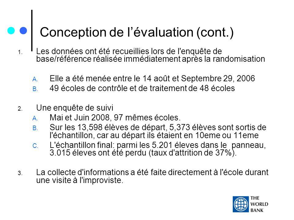 Conception de lévaluation (cont.) 1. Les données ont été recueillies lors de l'enquête de base/référence réalisée immédiatement après la randomisation