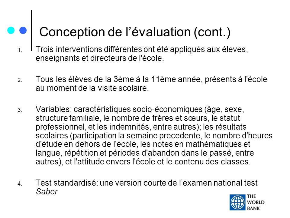 Conception de lévaluation (cont.) 1. Trois interventions différentes ont été appliqués aux éleves, enseignants et directeurs de l'école. 2. Tous les é
