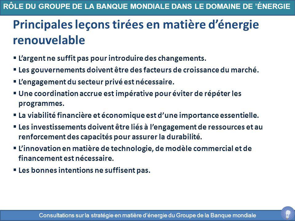 Largent ne suffit pas pour introduire des changements. Les gouvernements doivent être des facteurs de croissance du marché. Lengagement du secteur pri