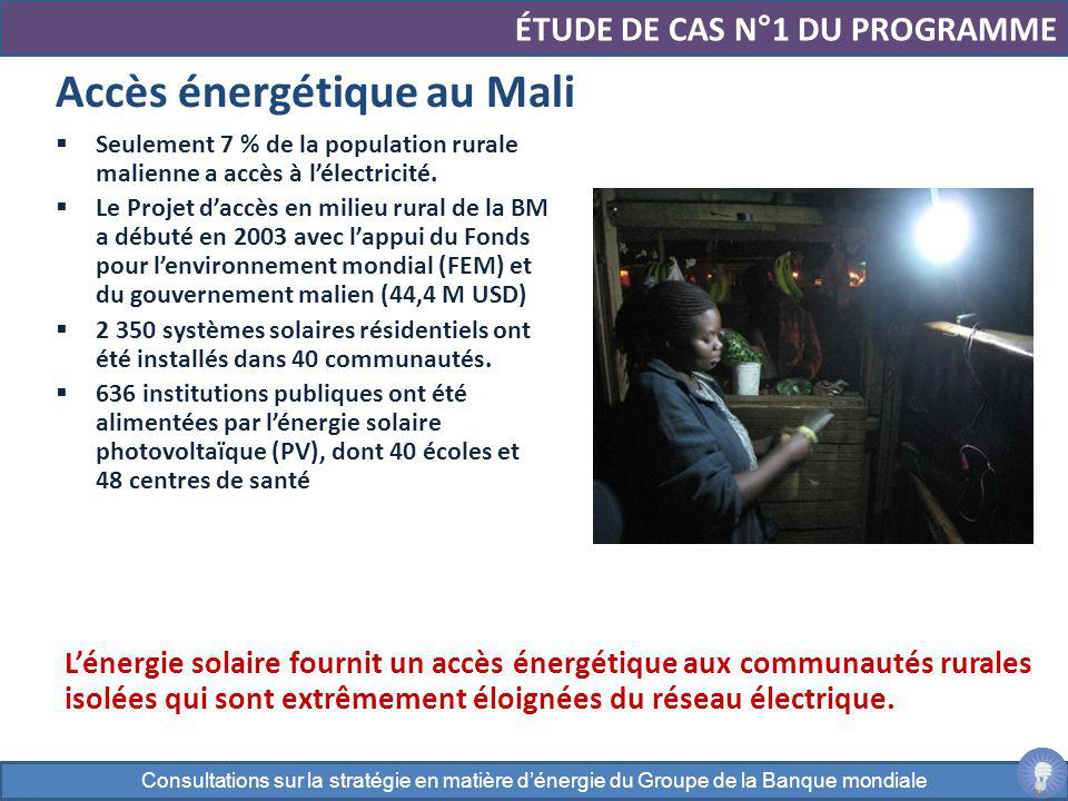 Accès énergétique au Mali ÉTUDE DE CAS N°1 DU PROGRAMME Seulement 7 % de la population rurale malienne a accès à lélectricité. Le Projet daccès en mil