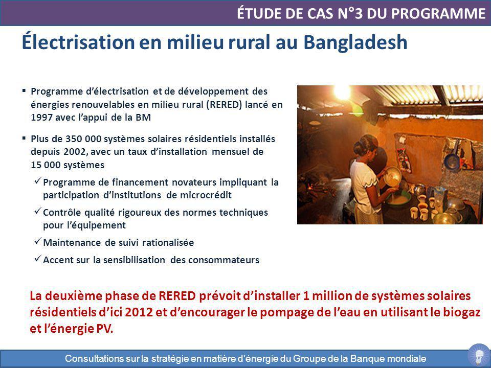 Programme délectrisation et de développement des énergies renouvelables en milieu rural (RERED) lancé en 1997 avec lappui de la BM Plus de 350 000 sys