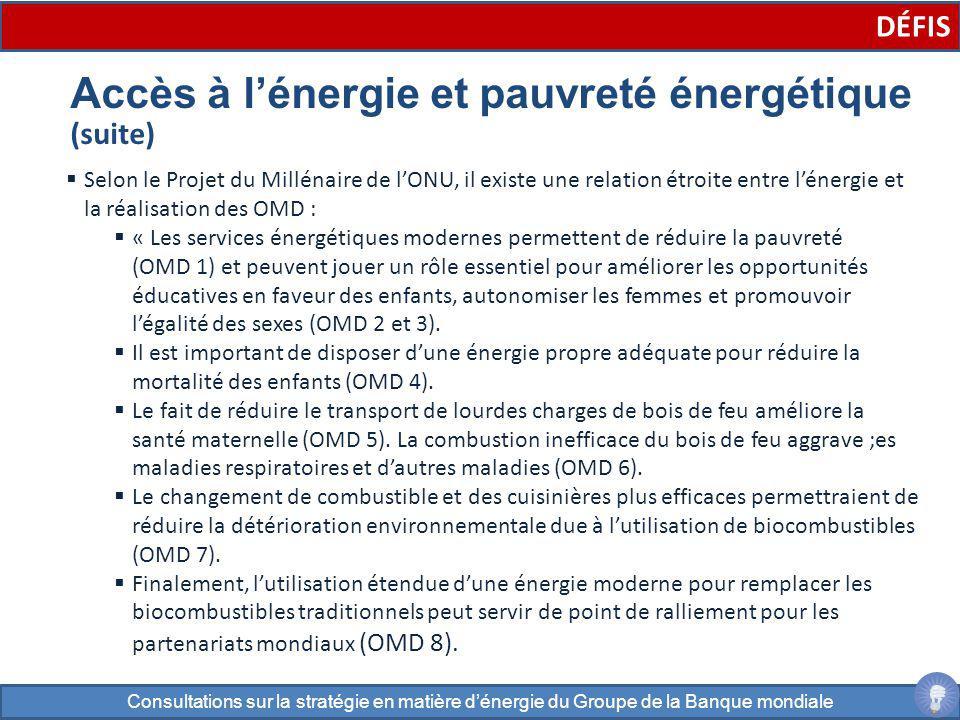 Selon le Projet du Millénaire de lONU, il existe une relation étroite entre lénergie et la réalisation des OMD : « Les services énergétiques modernes