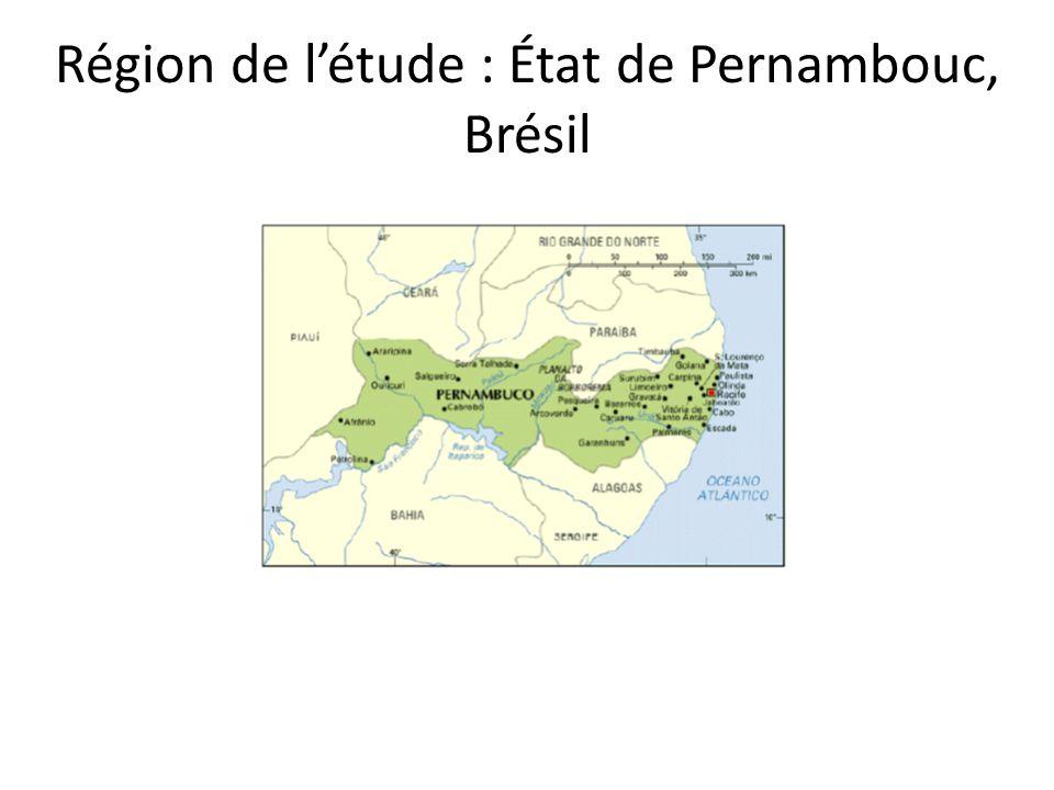 Région de létude : État de Pernambouc, Brésil