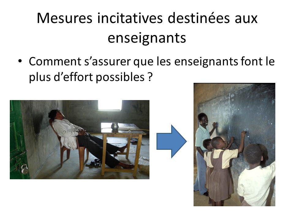 Mesures incitatives destinées aux enseignants Comment sassurer que les enseignants font le plus deffort possibles ?