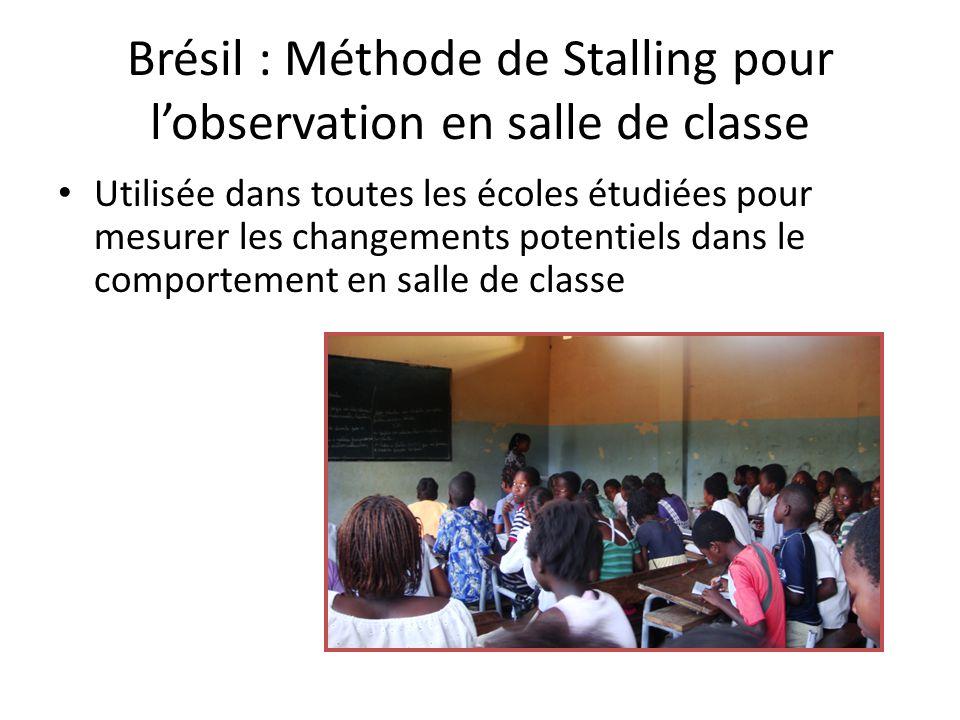 Brésil : Méthode de Stalling pour lobservation en salle de classe Utilisée dans toutes les écoles étudiées pour mesurer les changements potentiels dans le comportement en salle de classe