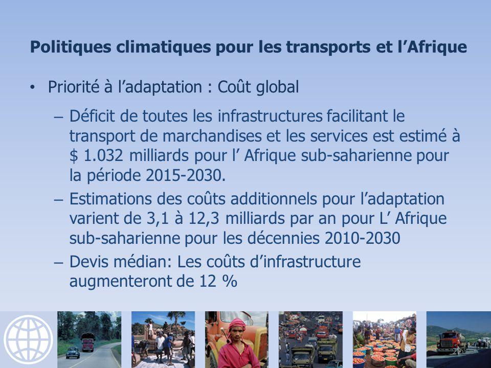 Priorité à ladaptation : Coût global – Déficit de toutes les infrastructures facilitant le transport de marchandises et les services est estimé à $ 1.032 milliards pour l Afrique sub-saharienne pour la période 2015-2030.