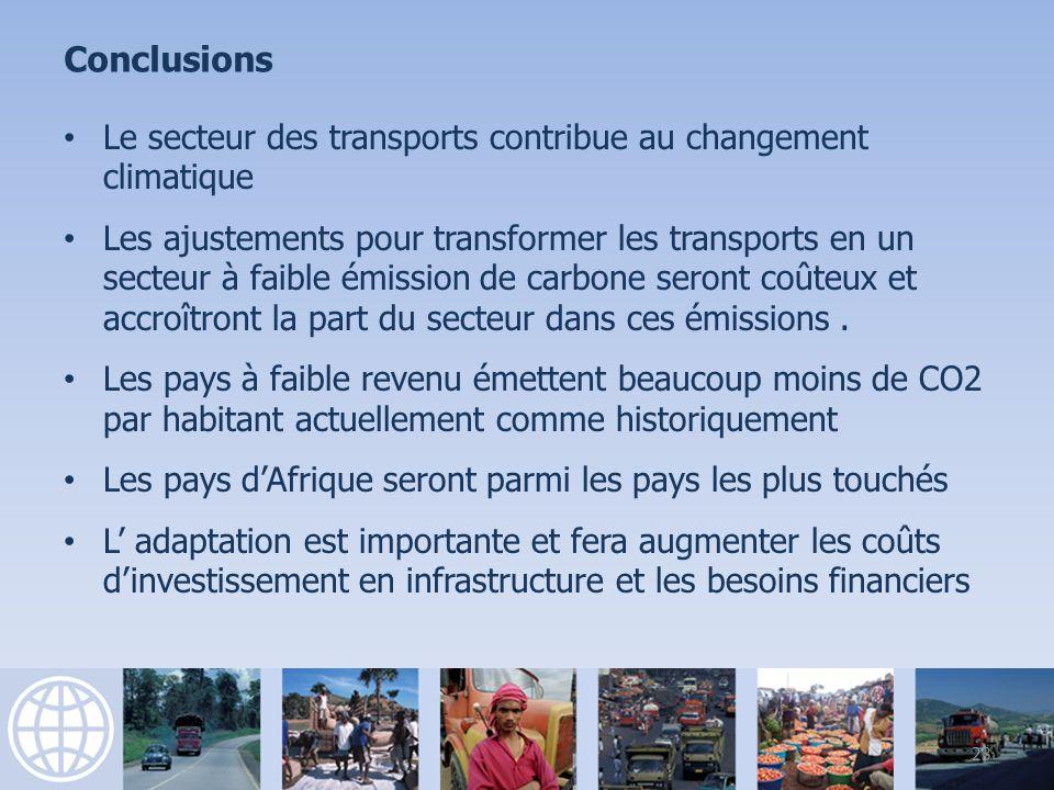 Conclusions Le secteur des transports contribue au changement climatique Les ajustements pour transformer les transports en un secteur à faible émission de carbone seront coûteux et accroîtront la part du secteur dans ces émissions.
