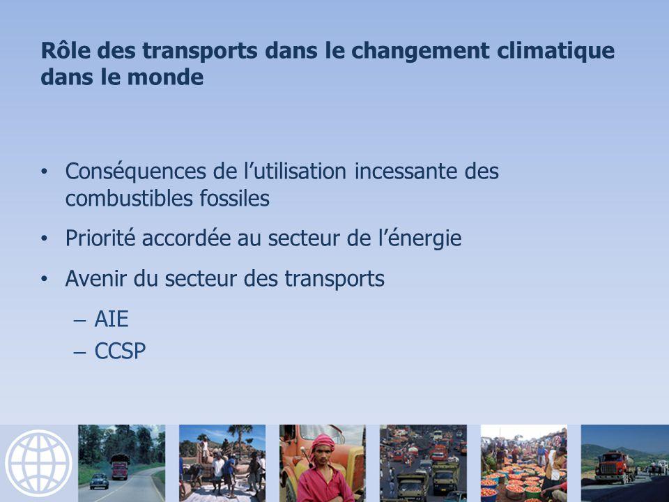 Rôle des transports dans le changement climatique dans le monde Conséquences de lutilisation incessante des combustibles fossiles Priorité accordée au secteur de lénergie Avenir du secteur des transports – AIE – CCSP 4