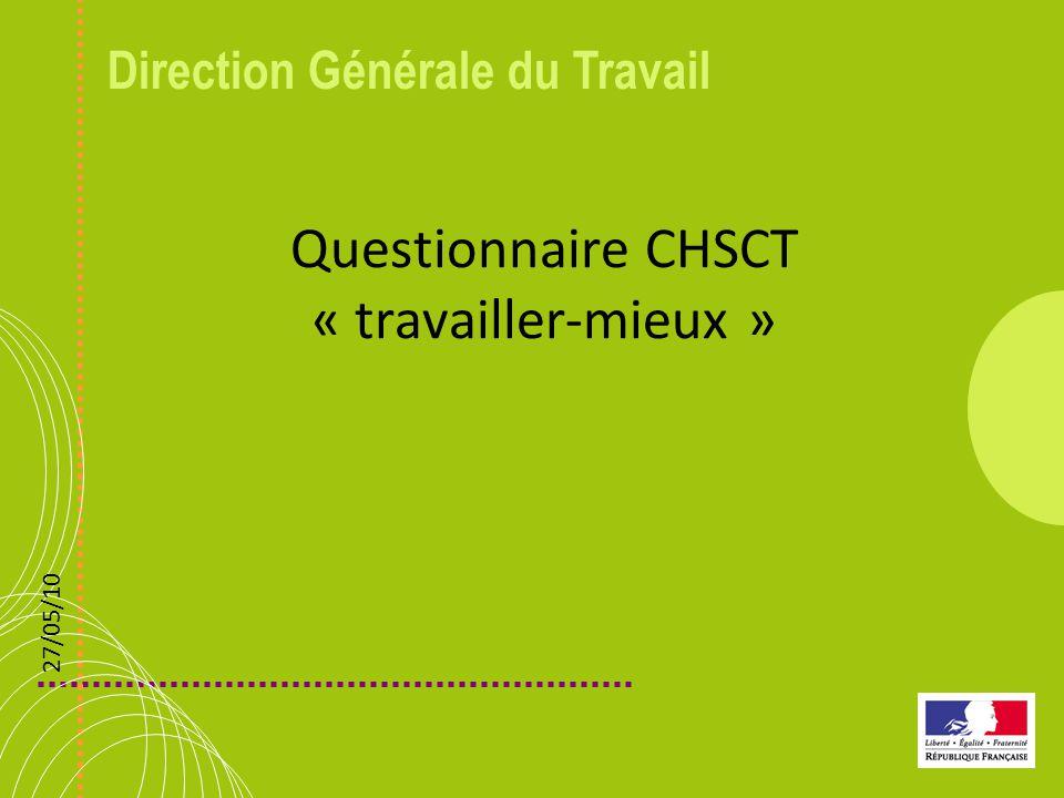 Direction Générale du Travail Questionnaire CHSCT « travailler-mieux » 27/05/10