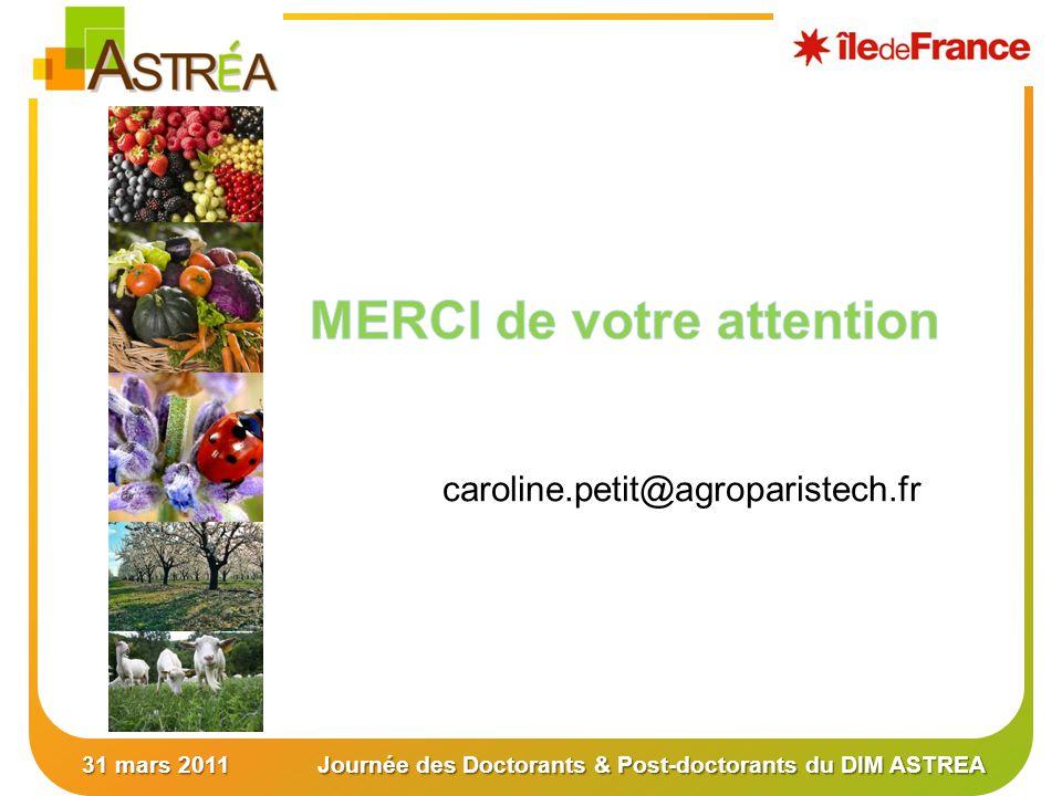 31 mars 2011Journée des Doctorants & Post-doctorants du DIM ASTREA caroline.petit@agroparistech.fr