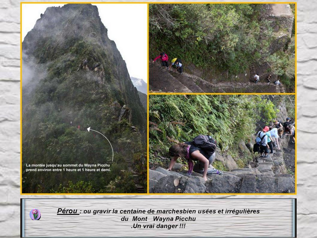 Pérou : Pour voir le site de Machu Picchu, il vous faudra gravir les 1700 marches, du Mont Machu-Picchu plus ou moins régulières. Le dépliant touristi