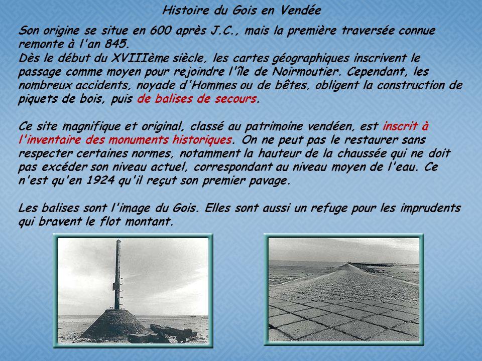 Cest une route qui rejoint le continent à lîle de Noirmoutier. « Gois » provient du maraîchin (patois local) « goiser » et signifie « marcher en mouil