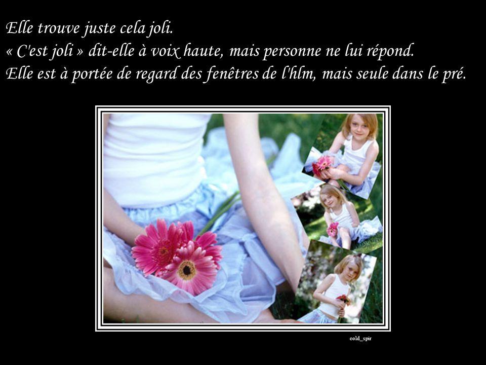 La Petite ne connaît pas le nom des fleurs, ni la raison de leur abondance.