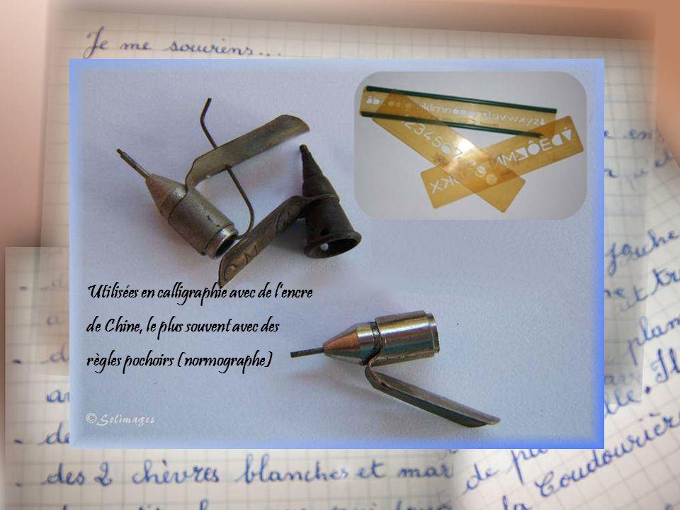 Utilisées en calligraphie avec de lencre de Chine, le plus souvent avec des règles pochoirs (normographe)