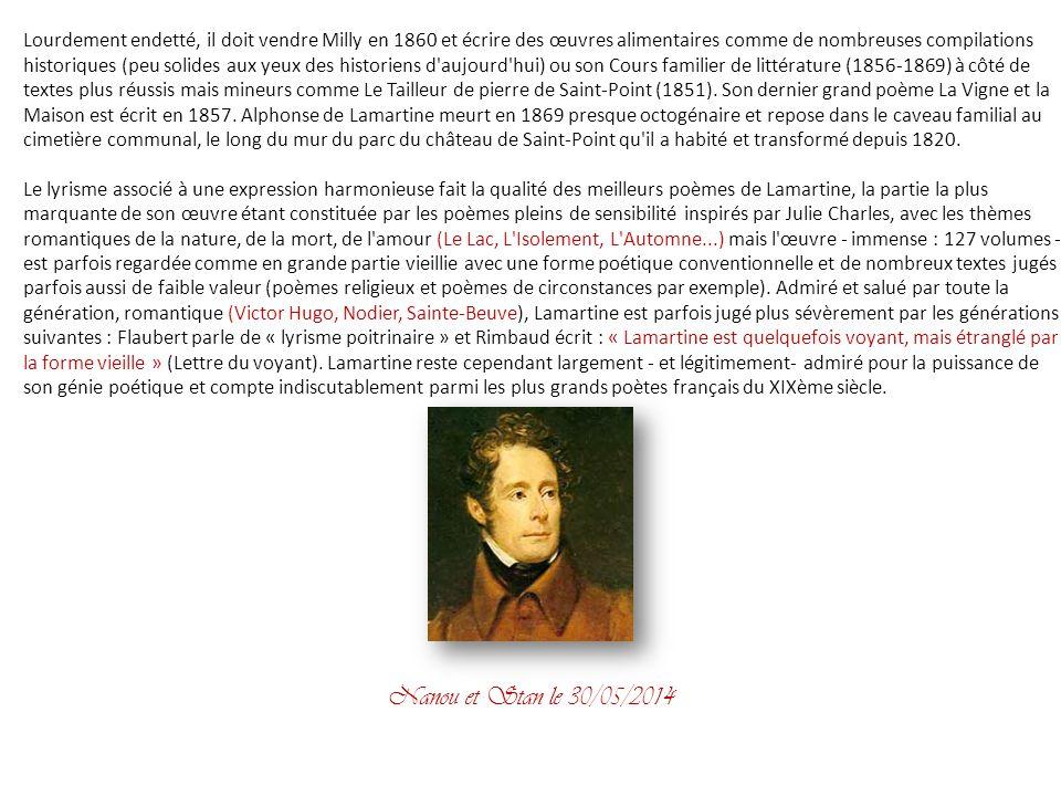 Alphonse de Lamartine Alphonse Marie Louis de Prat de Lamartine dit Alphonse de Lamartine, né à Mâcon le 21 octobre 1790 et mort à Paris le 28 février