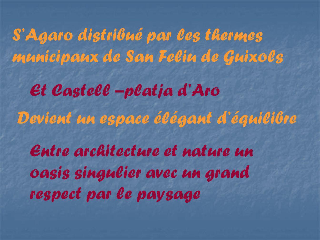 SAgaro distribué par les thermes municipaux de San Feliu de Guixols Et Castell –platja dAro Devient un espace élégant déquilibre Entre architecture et nature un oasis singulier avec un grand respect par le paysage