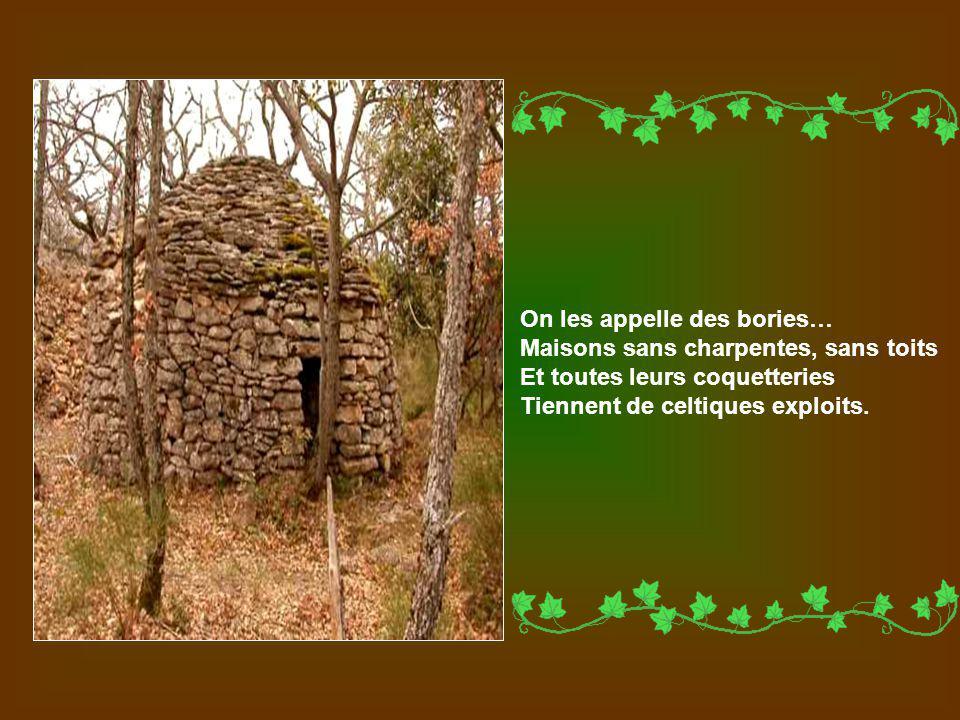 On les appelle des bories… Maisons sans charpentes, sans toits Et toutes leurs coquetteries Tiennent de celtiques exploits.