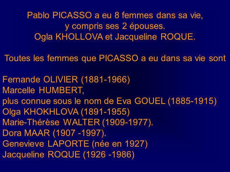 Ses enfants Pablo PICASSO a eu 4 enfants trois sont encore en vie Paulo PICASSO (4 février 1921 – 5 juin 1975) Maya WIDMAIER née le 5 septembre 1935 C