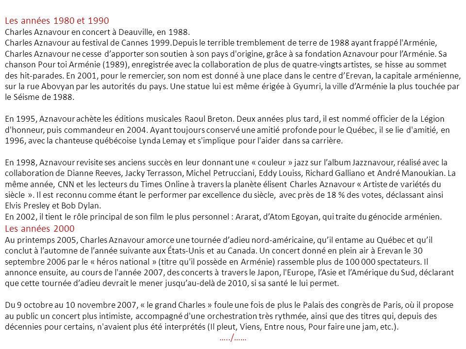 Charles Aznavour Charles Aznavour ( Շառլ Ազնավուր en arménien), né Chahnourh Varinag Aznavourian ( Շահնուր Վաղինակ Ազնավուրեան ) le 22 mai 1924 à Paris, est un auteur-compositeur-interprète, acteur et diplomate franco-arménien.
