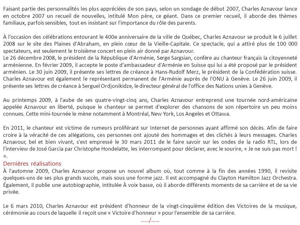 Les années 1980 et 1990 Charles Aznavour en concert à Deauville, en 1988.