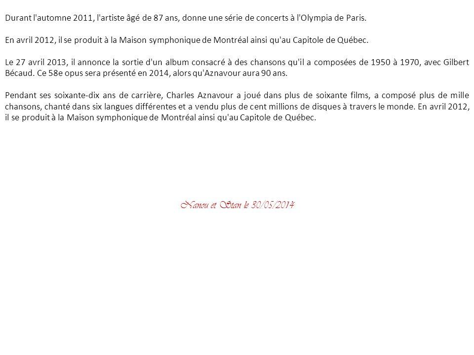 Faisant partie des personnalités les plus appréciées de son pays, selon un sondage de début 2007, Charles Aznavour lance en octobre 2007 un recueil de nouvelles, intitulé Mon père, ce géant.