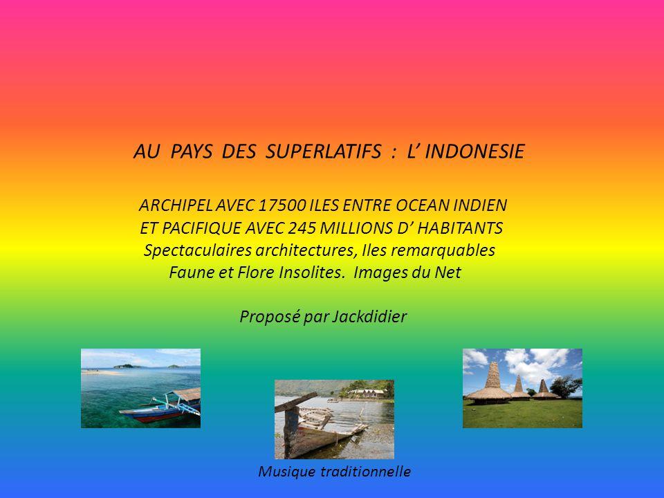AU PAYS DES SUPERLATIFS : L INDONESIE ARCHIPEL AVEC 17500 ILES ENTRE OCEAN INDIEN ET PACIFIQUE AVEC 245 MILLIONS D HABITANTS Spectaculaires architectures, Iles remarquables Faune et Flore Insolites.