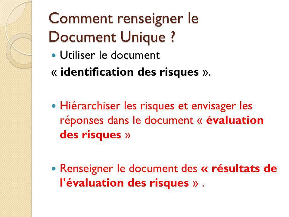 Comment renseigner le Document Unique ? Utiliser le document « identification des risques ». Hiérarchiser les risques et envisager les réponses dans l