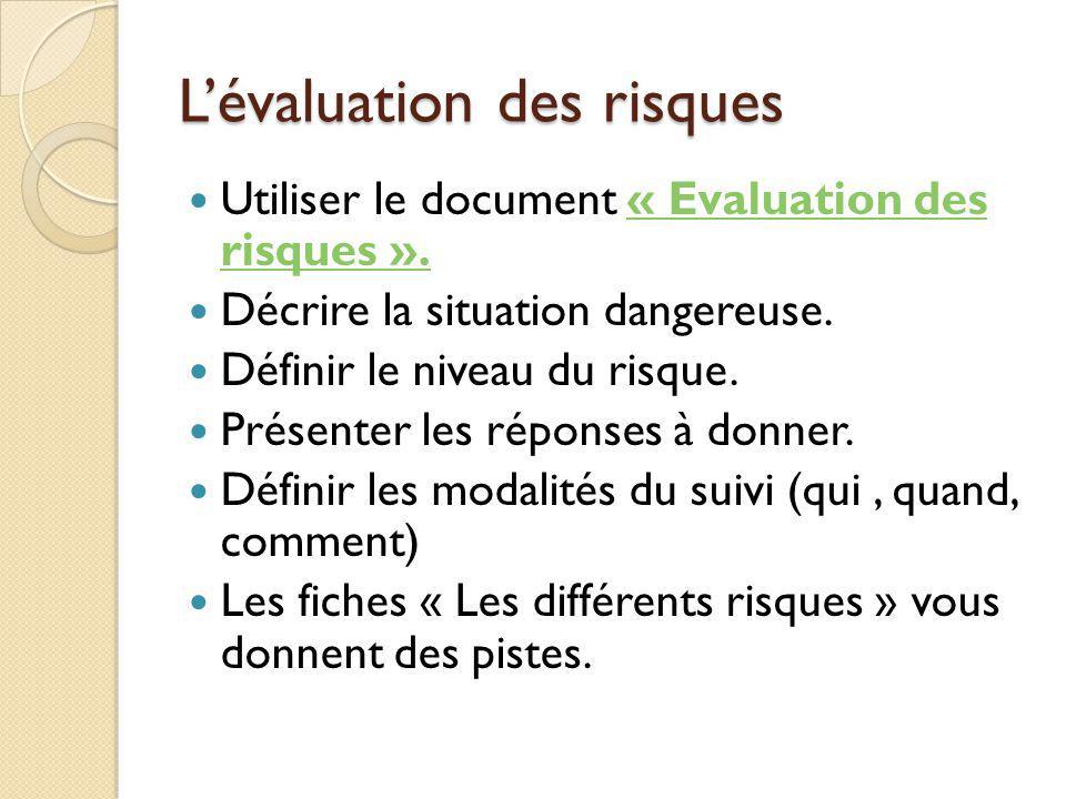 Lévaluation des risques Utiliser le document « Evaluation des risques ».« Evaluation des risques ». Décrire la situation dangereuse. Définir le niveau