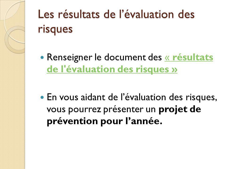 Les résultats de lévaluation des risques Renseigner le document des « résultats de l'évaluation des risques »« résultats de l'évaluation des risques »