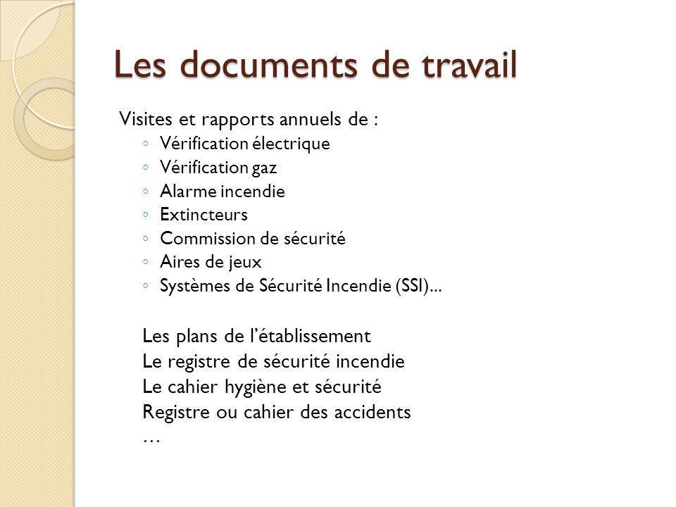 Les documents de travail Visites et rapports annuels de : Vérification électrique Vérification gaz Alarme incendie Extincteurs Commission de sécurité