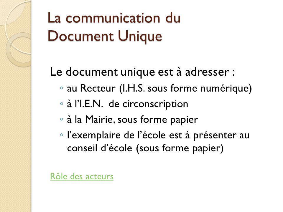 La communication du Document Unique Le document unique est à adresser : au Recteur (I.H.S. sous forme numérique) à lI.E.N. de circonscription à la Mai