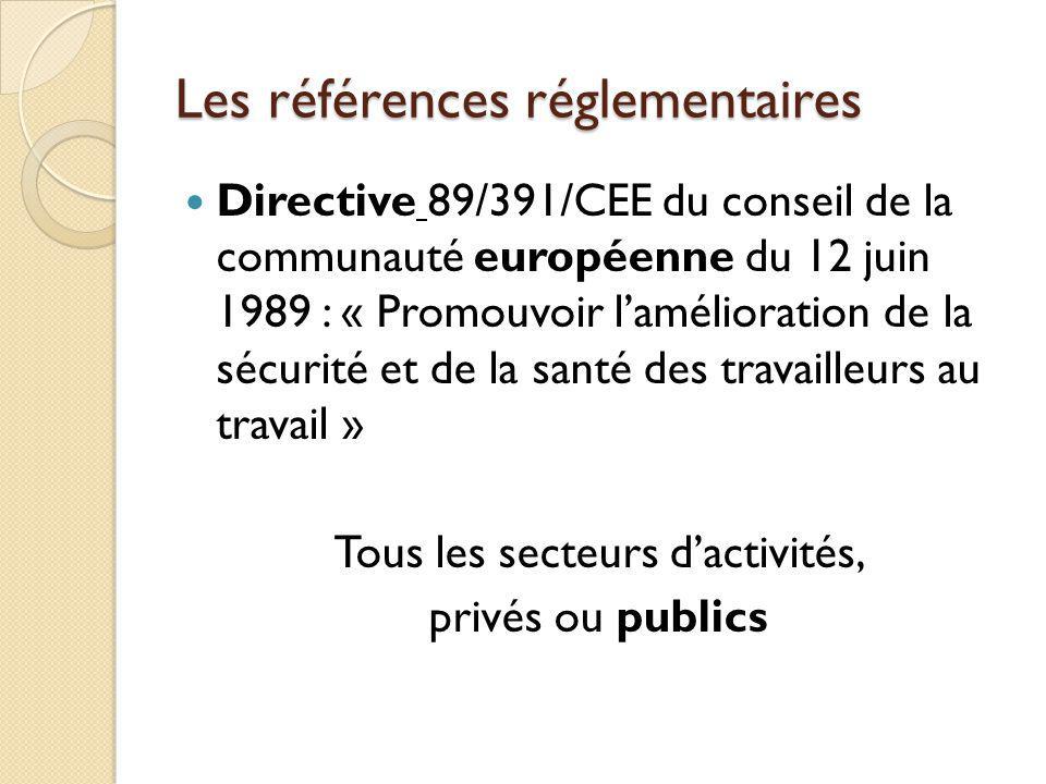 Les références réglementaires Directive 89/391/CEE du conseil de la communauté européenne du 12 juin 1989 : « Promouvoir lamélioration de la sécurité