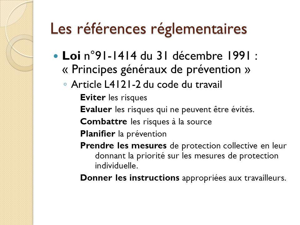 Les références réglementaires Loi n°91-1414 du 31 décembre 1991 : « Principes généraux de prévention » Article L4121-2 du code du travail Eviter les r