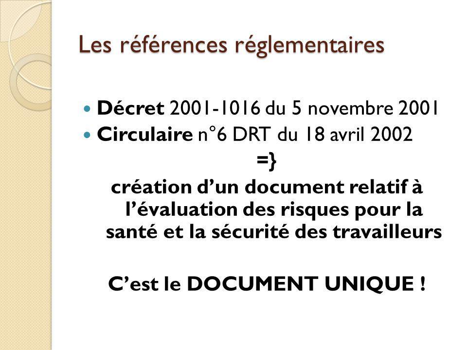Les références réglementaires Décret 2001-1016 du 5 novembre 2001 Circulaire n°6 DRT du 18 avril 2002 =} création dun document relatif à lévaluation d