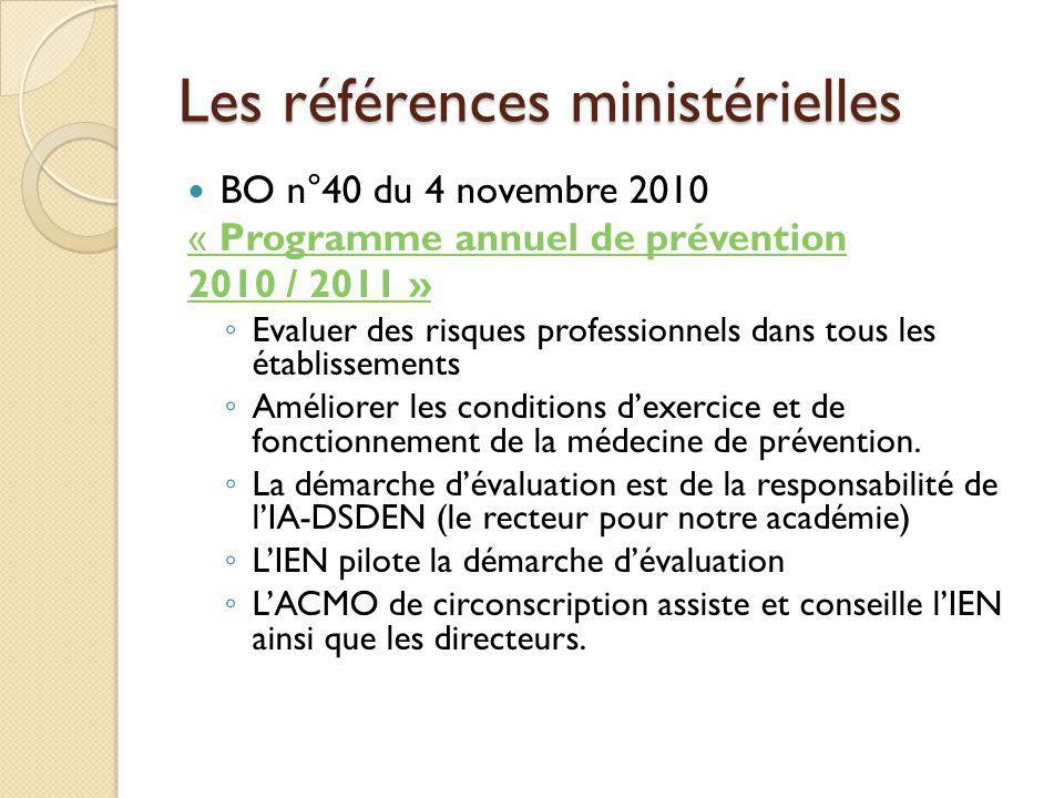 Les références ministérielles BO n°40 du 4 novembre 2010 « Programme annuel de prévention 2010 / 2011 » Evaluer des risques professionnels dans tous l