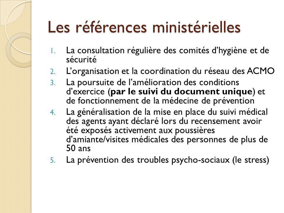 Les références ministérielles 1. La consultation régulière des comités dhygiène et de sécurité 2. Lorganisation et la coordination du réseau des ACMO