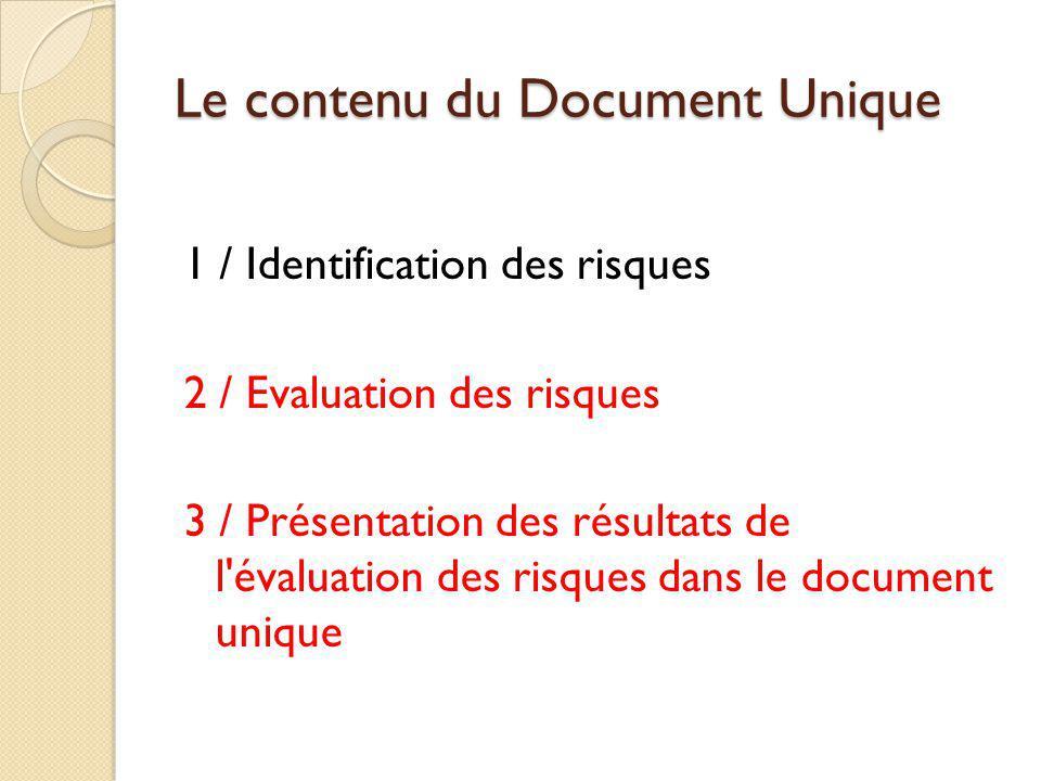 Le contenu du Document Unique 1 / Identification des risques 2 / Evaluation des risques 3 / Présentation des résultats de l'évaluation des risques dan