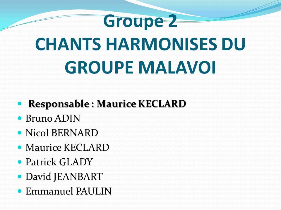 Groupe 2 CHANTS HARMONISES DU GROUPE MALAVOI Responsable : Maurice KECLARD Bruno ADIN Nicol BERNARD Maurice KECLARD Patrick GLADY David JEANBART Emman