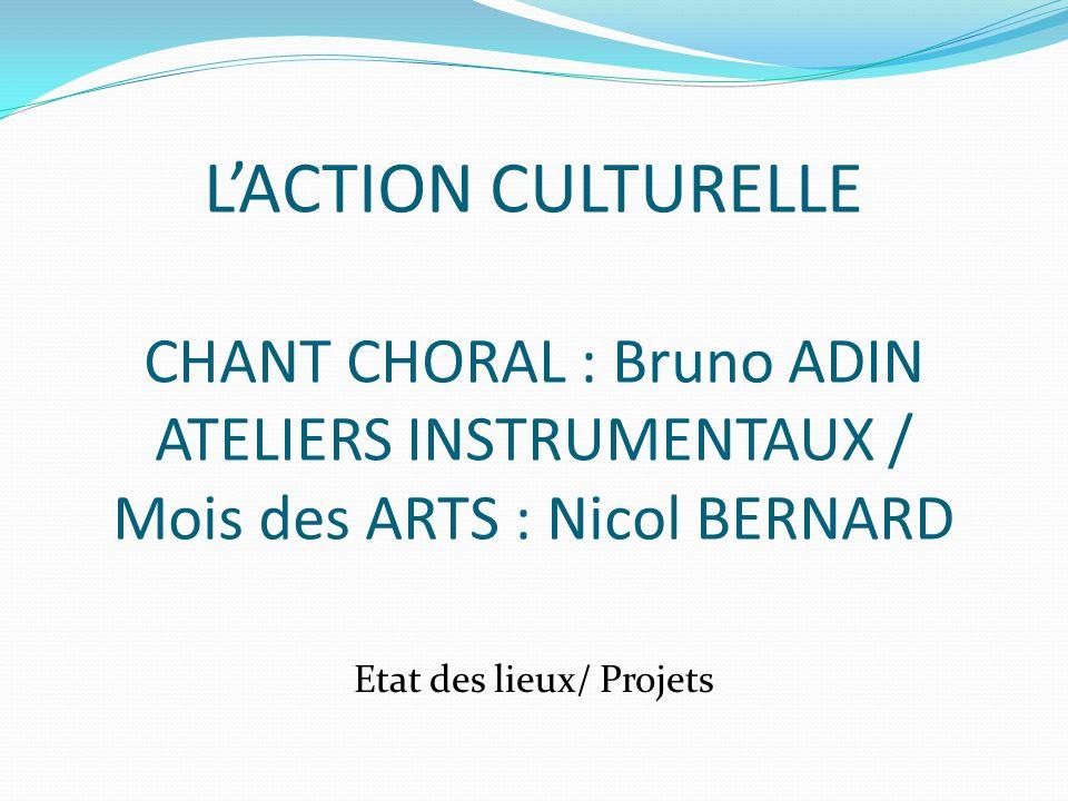 LACTION CULTURELLE CHANT CHORAL : Bruno ADIN ATELIERS INSTRUMENTAUX / Mois des ARTS : Nicol BERNARD Etat des lieux/ Projets