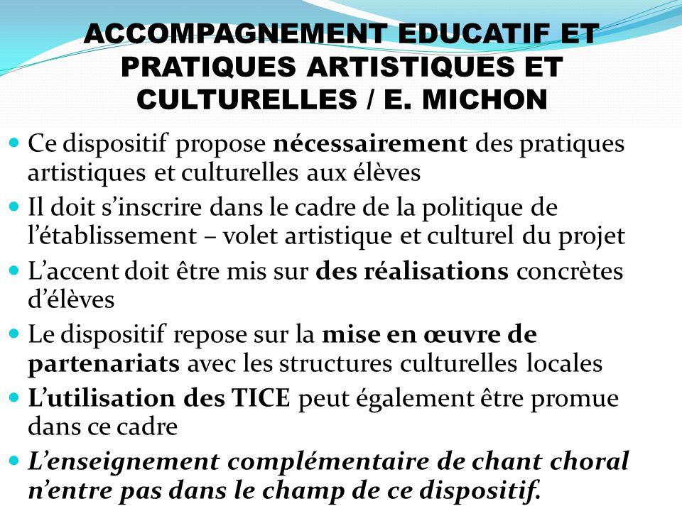 ACCOMPAGNEMENT EDUCATIF ET PRATIQUES ARTISTIQUES ET CULTURELLES / E. MICHON Ce dispositif propose nécessairement des pratiques artistiques et culturel