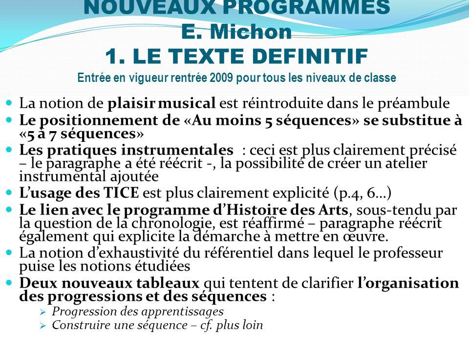 NOUVEAUX PROGRAMMES E. Michon 1. LE TEXTE DEFINITIF Entrée en vigueur rentrée 2009 pour tous les niveaux de classe La notion de plaisir musical est ré