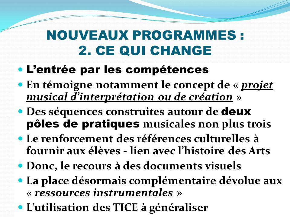 NOUVEAUX PROGRAMMES : 2. CE QUI CHANGE Lentrée par les compétences En témoigne notamment le concept de « projet musical dinterprétation ou de création